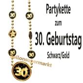Partykette zum 30. Geburtstag, Schwarz-Gold