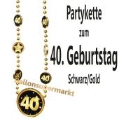 Partykette zum 40. Geburtstag, Schwarz-Gold