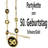 Partykette zum 50. Geburtstag, Schwarz-Gold