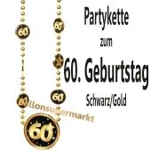 Partykette zum 60. Geburtstag, Schwarz-Gold