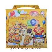Partykoffer Kindergeburtstag Clown, 60 Teile Partydekoration für Kinder