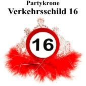 Partykrone zum 16. Geburtstag, Verkehrsschild 16