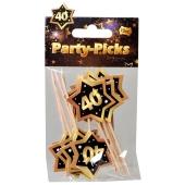 Party Picker Zahl 40, Schwarz/Gold, Dekoration zum Geburtstag