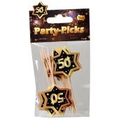 Party Picker Zahl 50, Schwarz/Gold, Dekoration zum Geburtstag