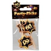 Party Picker Zahl 60, Schwarz/Gold, Dekoration zum Geburtstag