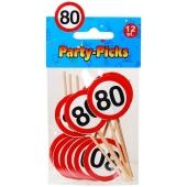Party Picker Zahl 80, Verkehrsschilder, Dekoration zum Geburtstag