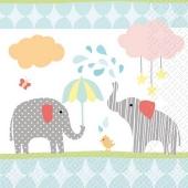 Partyservietten Elvin, Elefanten, Servietten zu Geburt, Taufe, Babyparty und Kindergeburtstag