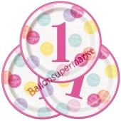 1st Birthday Pink Dots Partyteller zum 1. Geburtstag