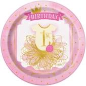 8 Partyteller 1st Birthday Pink & Gold zum 1. Kindergeburtstag, Maedchen