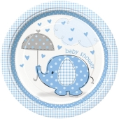 Baby Shower Partyteller, blau