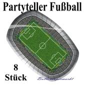 Partyteller Fußball, 8 Stück, Motiv-Fußball-Stadion