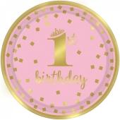 Gold 1st Birthday Rosa, 8 Partyteller zum 1. Geburtstag