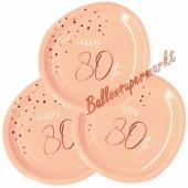 Elegant Lush Blush 80 Partyteller zum 80. Geburtstag