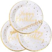 Weiß-Goldene Happy Birthday Partyteller zum Geburtstag, Kindergeburtstag