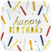 Happy Birthday Konfetti Partyteller zum Geburtstag, Kindergeburtstag