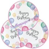 Pastel Happy Birthday Partyteller zum Geburtstag, Kindergeburtstag