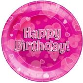 Happy Birthday Pink Partyteller zum Geburtstag, Kindergeburtstag