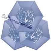 Happy Birthday Mini-Partyteller, Blau Glitter zum Geburtstag, Kindergeburtstag