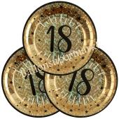Glitzer Gold Partyteller zum 18. Geburtstag, 10 Stück