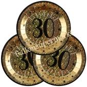 Glitzer Gold Partyteller zum 30. Geburtstag, 10 Stück
