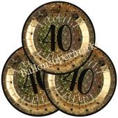 Glitzer Gold Partyteller zum 40. Geburtstag, 10 Stück