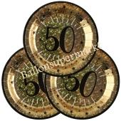 Glitzer Gold Partyteller zum 50. Geburtstag, 10 Stück