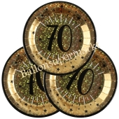 Glitzer Gold Partyteller zum 70. Geburtstag, 10 Stück