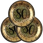 Glitzer Gold Partyteller zum 80. Geburtstag, 10 Stück