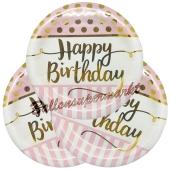 Happy Birthday Pink Chic Partyteller zum Geburtstag, Kindergeburtstag