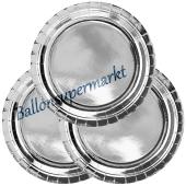 Partyteller Silber, 6 Stück