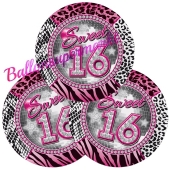 Partyteller Sweet 16 zum 16. Geburtstag, 8 Stück
