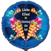 """Personalisierter Luftballon mit Namen der Schülerin oder des Schülers. """"Zur Einschulung alles Gute!"""""""