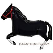 Pferd Luftballon aus Folie ohne Helium, schwarz