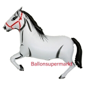 Luftballon aus Folie Pferd weiß, Folienballon mit Ballongas