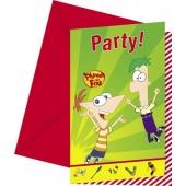 Phineas und Ferb Einladungskarten zum Kindergeburtstag