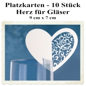 Tischkarten, Herzen, für Gläser, 10 Stück