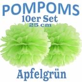Pompoms Apfelgrün, 25 cm, 10 Stück