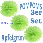 Pompoms Apfelgrün, 3 Stück, 25 cm
