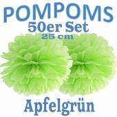 Pompoms Apfelgrün, 25 cm, 50 Stück