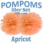 Pompoms Apricot, 25 cm, 10 Stück