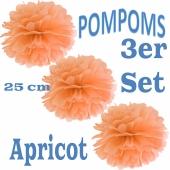 Pompoms Apricot, 25 cm, 3 Stück