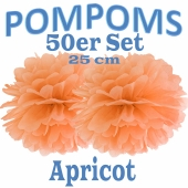 Pompoms Apricot, 25 cm, 50 Stück