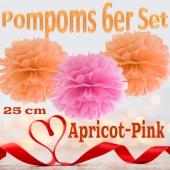 Pompoms in Apricot und Pink, 25 cm, 6er Set
