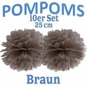 Pompoms Braun, 25 cm, 10 Stück