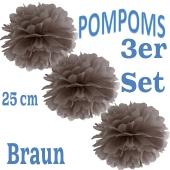 Pompoms Braun, 25 cm, 3 Stück