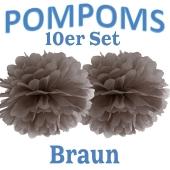 Pompoms Braun, 10 Stück