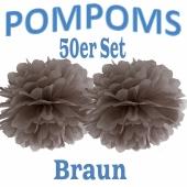 Pompoms Braun, 35 cm, 50 Stück