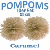 Pompoms Caramel, 25 cm, 10 Stück