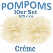 Pompoms Créme, 25 cm, 10 Stück