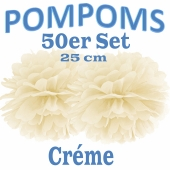 Pompoms Créme, 25 cm, 50 Stück